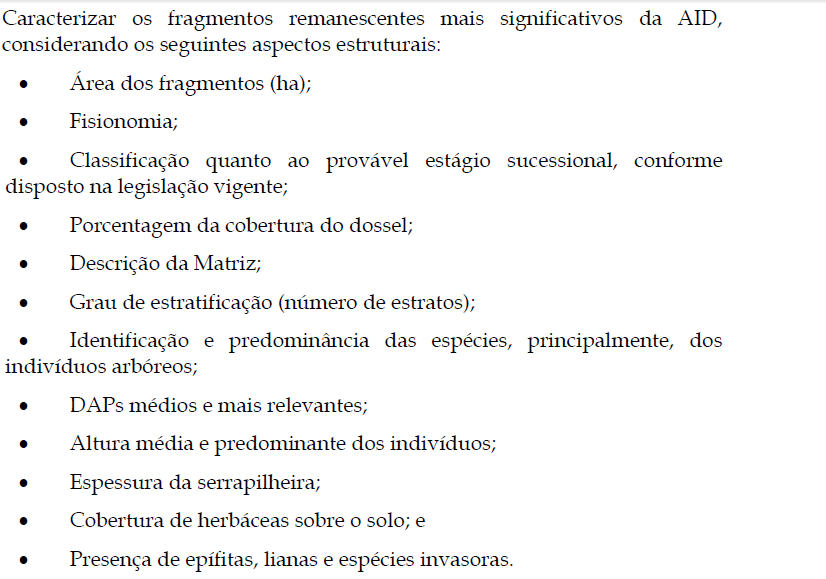 Parametros estruturais da Vegetacao